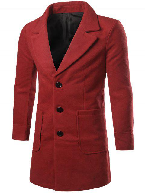 women Lapel Collar Big Pocket Wool Blend Coat - RED L Mobile