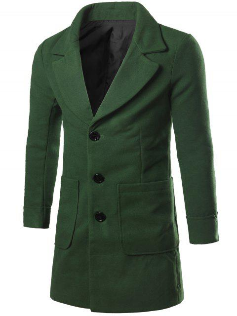 Col à revers Big Pocket Wool Blend Coat - vert foncé 2XL Mobile