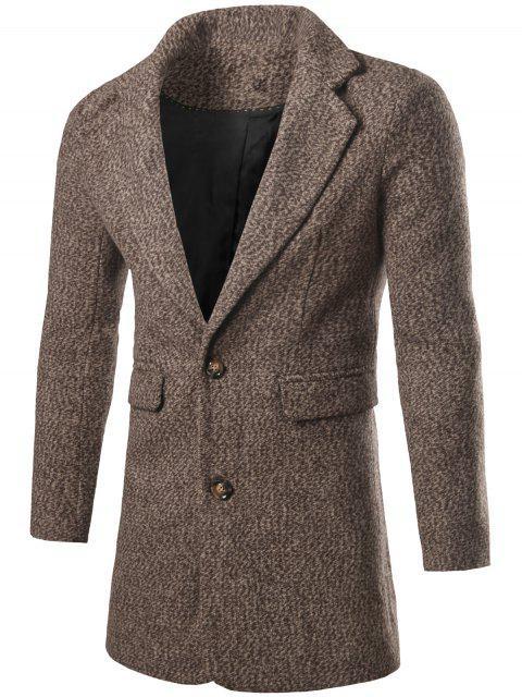 Einreiher Klappen-Tasche Tweed-Mantel - Kaffee L Mobile