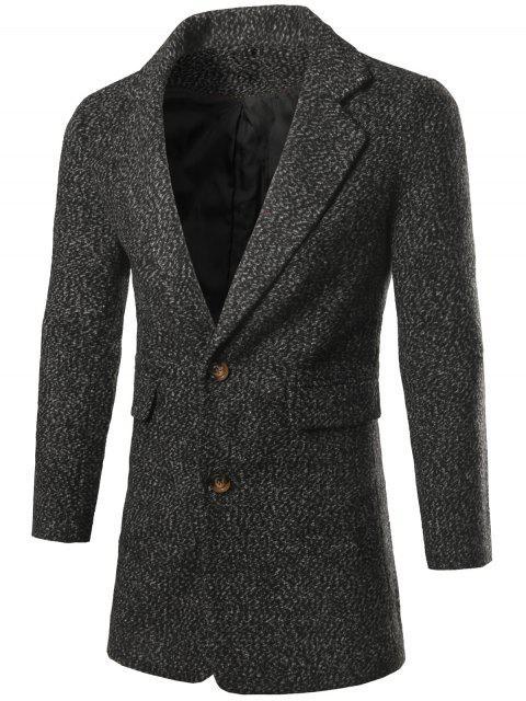 women Single Breasted Flap Pocket Tweed Coat - DEEP GRAY L Mobile