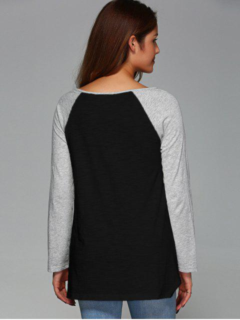 shop Raglan Sleeve Asymmetrical Tee - BLACK L Mobile