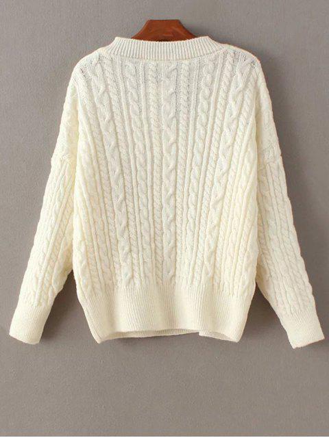 Pull en tricot torsadé avec poches - Blanc TAILLE MOYENNE Mobile
