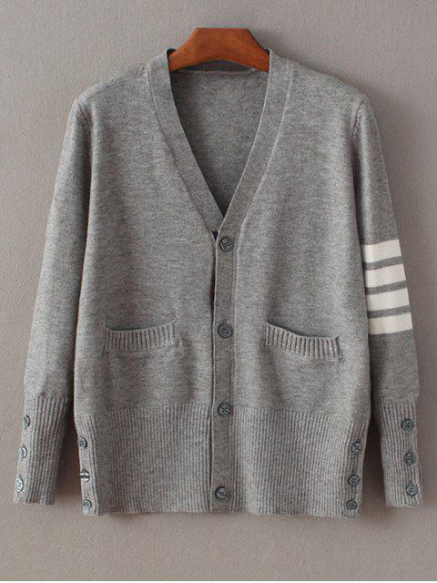 shop Fitting Striped Cardigan - GRAY ONE SIZE Mobile