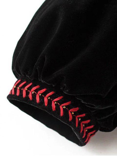 hot Embroidered Velvet Jacket - BLACK M Mobile