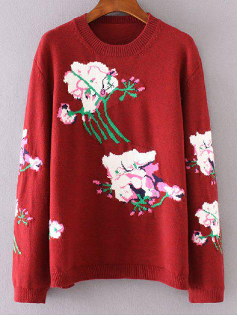 fashion Floral Jacquard Sweater - RED M Mobile