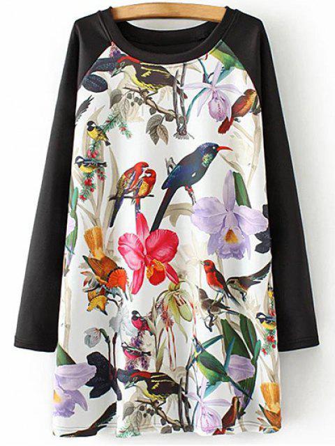 trendy Long Raglan Sleeve Printed Tunic Dress - WHITE XL Mobile