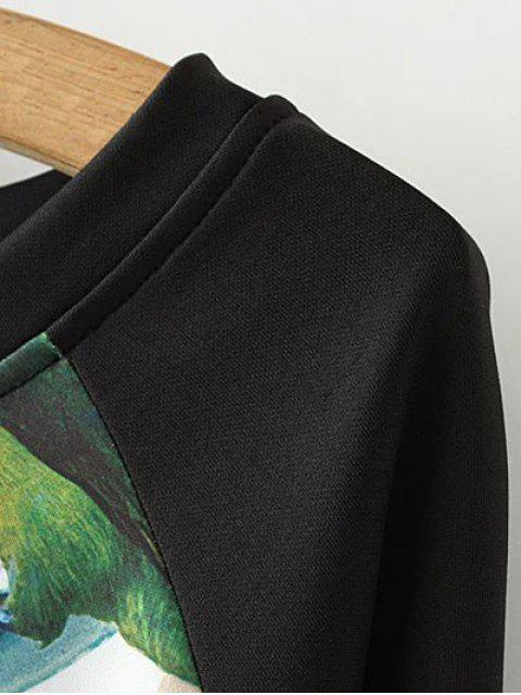 Robe imprimée des fleurs et des oiseaux avec des manches longues - Pourpre 2XL Mobile