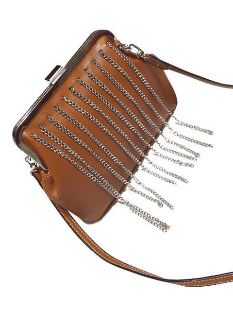 shop Chains Fringe PU Leather Crossbody Bag - BROWN  Mobile
