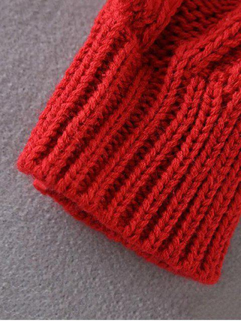 shops Cut Out Cable Knit Sweater - RED ONE SIZE Mobile