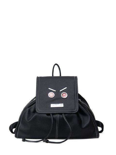 women's Drawstring Metals Textured Leather Backpack - BLACK  Mobile