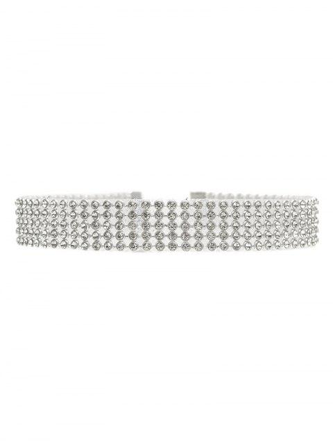 Rhinestoned Choker - Silber  Mobile