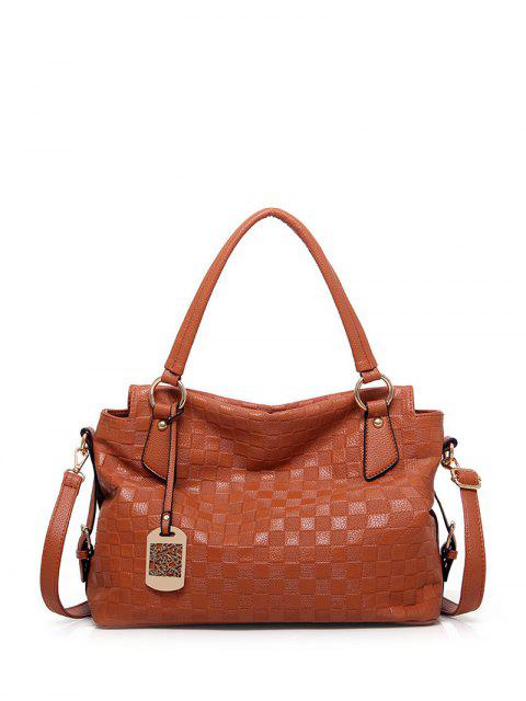 outfits Plaid Pattern Metal Embossing Tote Bag -   Mobile