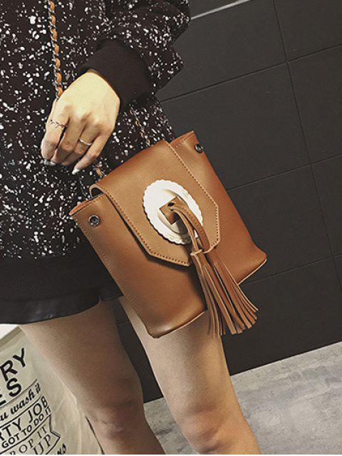 fashion Tassels Chain Snap Closure Crossbody Bag - BROWN  Mobile