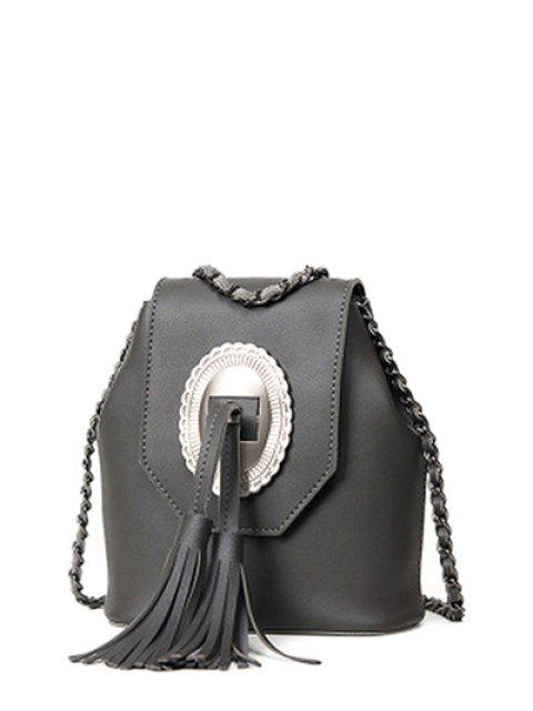 chic Tassels Chain Snap Closure Crossbody Bag - DEEP GRAY  Mobile