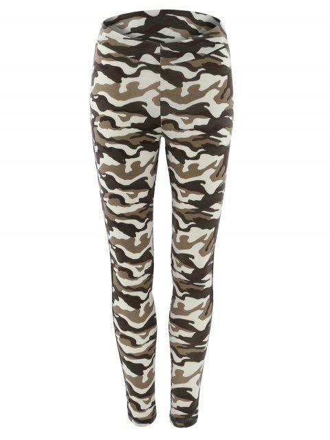 best Topstitched Camo Printed Leggings - CAMOUFLAGE S Mobile