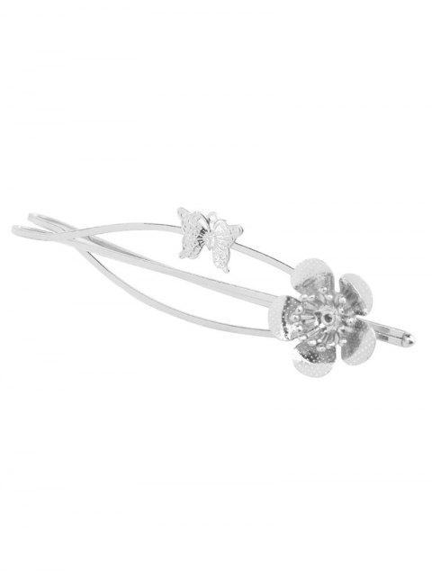 new Butterfly Flower Hair Accessory - SILVER  Mobile