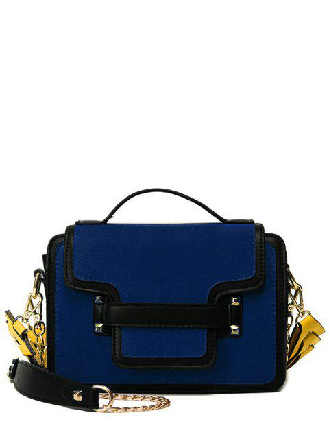 fancy PU Leather Spliced Suede Rivet Handbag - BLUE  Mobile