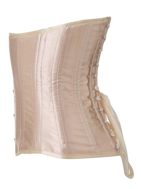 best Shiny Lace Up Buckle Corset - APRICOT S Mobile