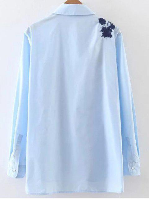 Blouse taille empire popeline brodée - Bleu M Mobile