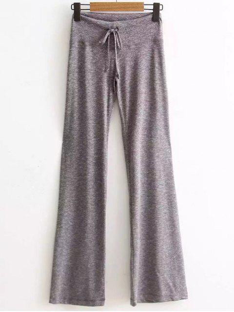 shop Active  Drawstring High Waisted Heather Pants - LIGHT GRAY S Mobile