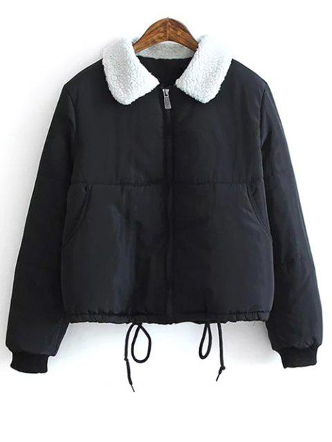 new Borg Collar Quilted Puffer Jacket -   Mobile