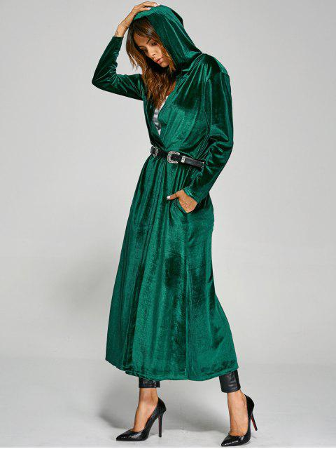 Manteau long velours à capuche embelli poches - Vert TAILLE MOYENNE Mobile