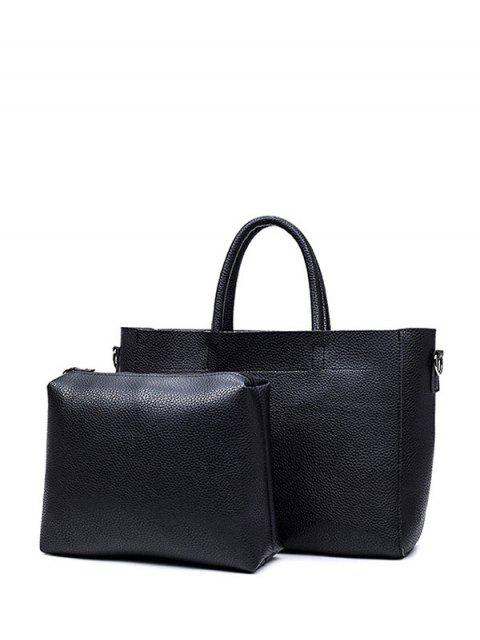 trendy Stitching Textured PU Leather Handbag - BLACK  Mobile