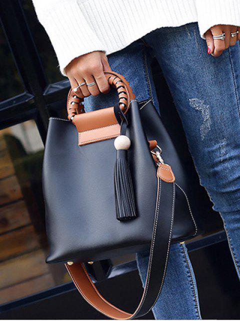 sale Tassel Wood Ball PU Leather Handbag - BLACK  Mobile
