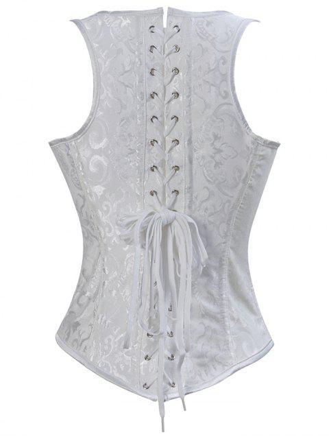 chic Paisley Shapewear Lace Up Corset Vest - WHITE 5XL Mobile
