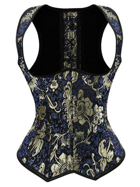 fashion Vintage Jacquard Lace Up  Corset Vest - DEEP BLUE M Mobile