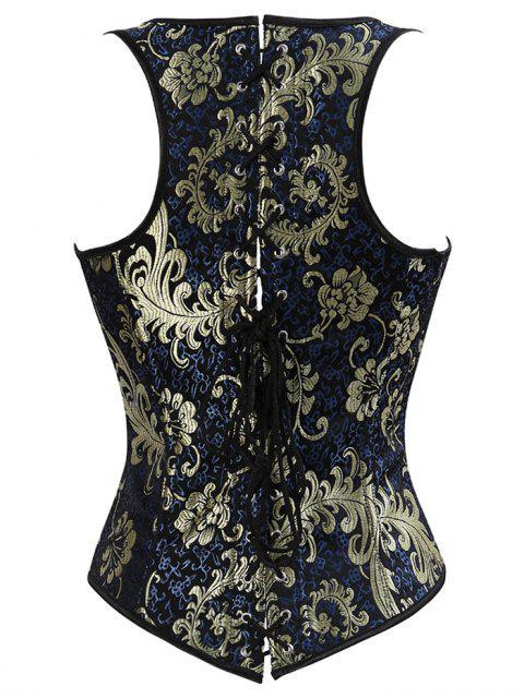 shop Vintage Jacquard Lace Up  Corset Vest - DEEP BLUE 3XL Mobile