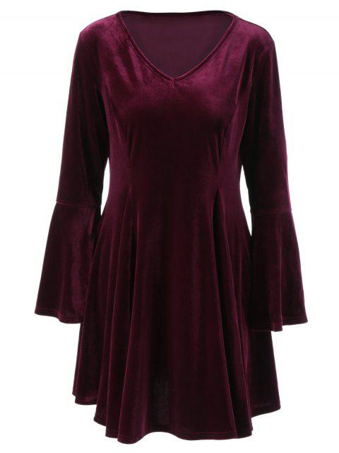 Velvet Bell Sleeves Fit und Flare Kleid - Lila Rot 2XL Mobile