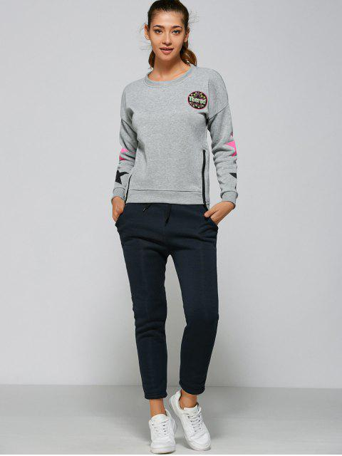 trendy Stars Side Zipper Sweatshirt and Pants - GRAY XL Mobile