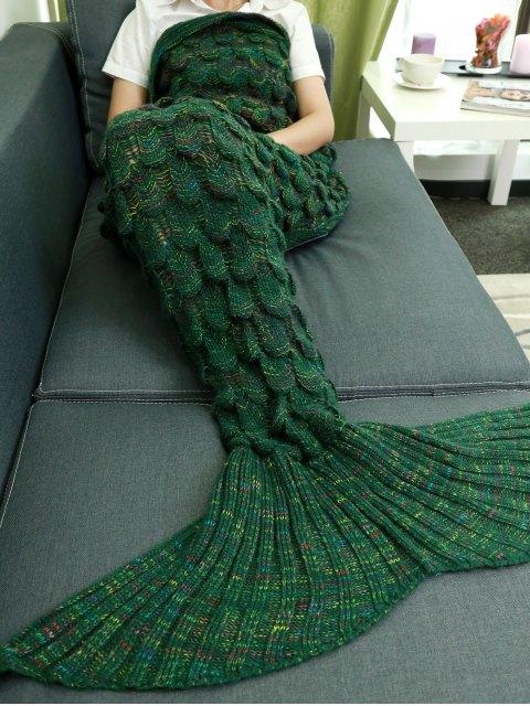Couverture en Queue de sirène très souple évidéé tricotée - Vert  Mobile
