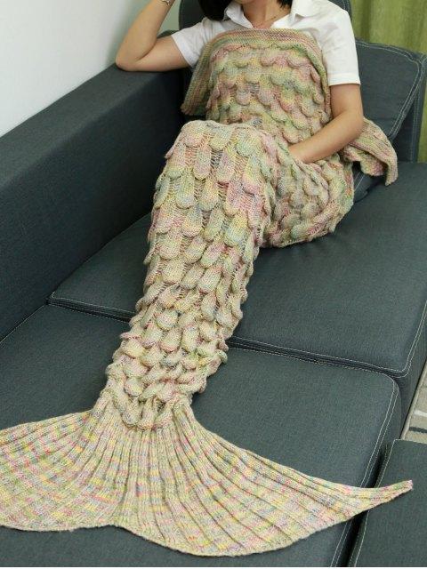 online Fish Scale Knit Mermaid Throw Blanket - BEIGE  Mobile