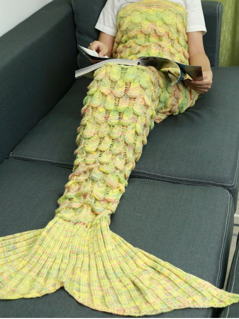 new Fish Scale Knit Mermaid Throw Blanket - YELLOW  Mobile