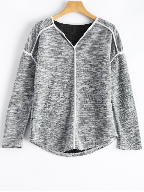 trendy Piping V Neck Knitwear - GRAY XL Mobile