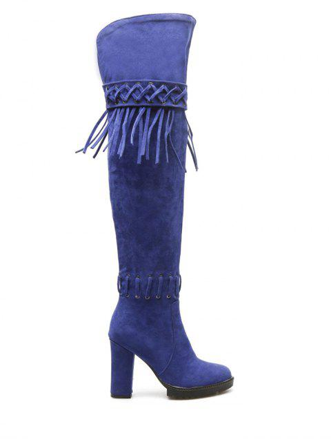 unique Fringe Criss-Cross Chunky Heel Thigh Boots - BLUE 38 Mobile