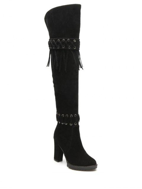 buy Fringe Criss-Cross Chunky Heel Thigh Boots - BLACK 38 Mobile