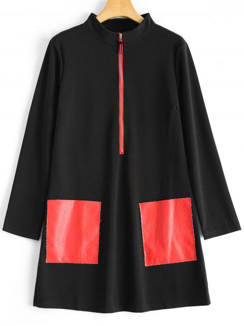 women's PU Leather Pockets Patched Coat - BLACK L Mobile