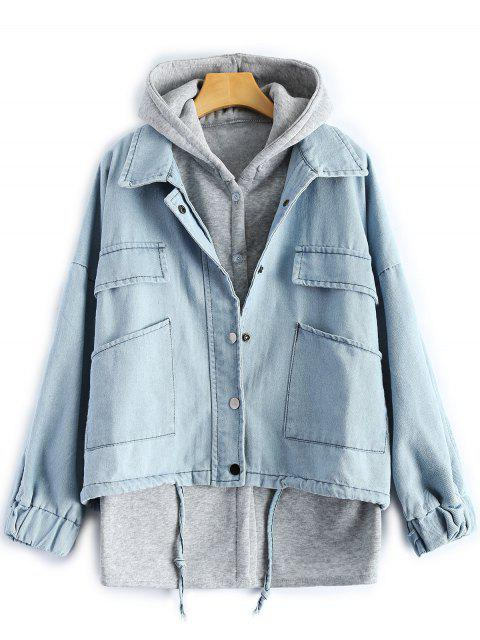 best Hooded Waistcoat With Jean Jacket - LIGHT BLUE L Mobile