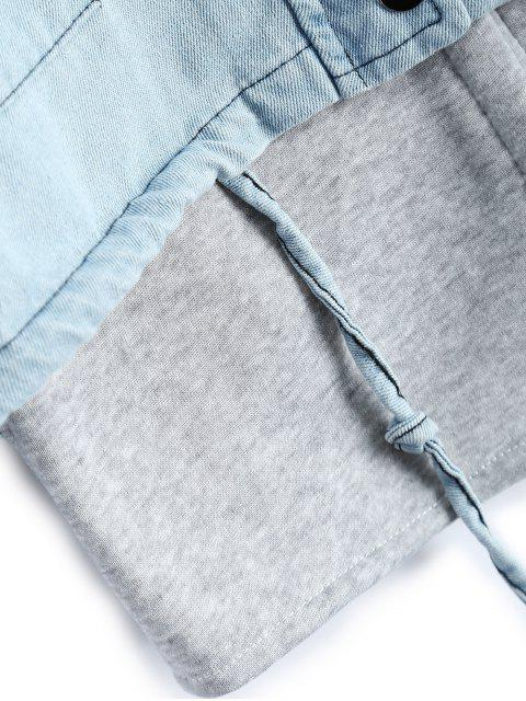 best Hooded Waistcoat With Jean Jacket - LIGHT BLUE L Mobile