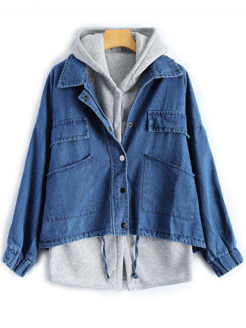 Gilet à capuche et veste en denim avec poches - Bleu Foncé XL Mobile