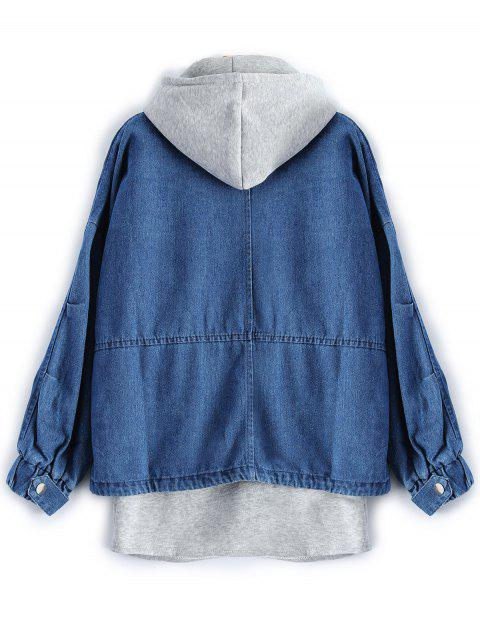 hot Hooded Waistcoat With Jean Jacket - DEEP BLUE XL Mobile