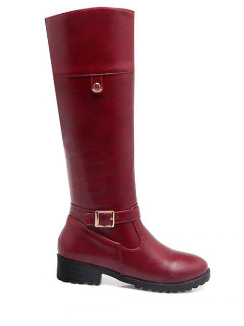 fancy Buckle Chunky Heel Zipper Knee-High Boots - WINE RED 38 Mobile