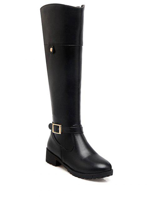 sale Buckle Chunky Heel Zipper Knee-High Boots - BLACK 37 Mobile