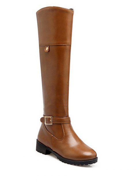 womens Buckle Chunky Heel Zipper Knee-High Boots - LIGHT BROWN 37 Mobile