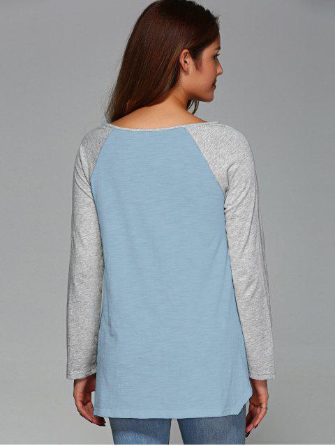 fancy Raglan Sleeve Asymmetrical Tee - LIGHT BLUE L Mobile