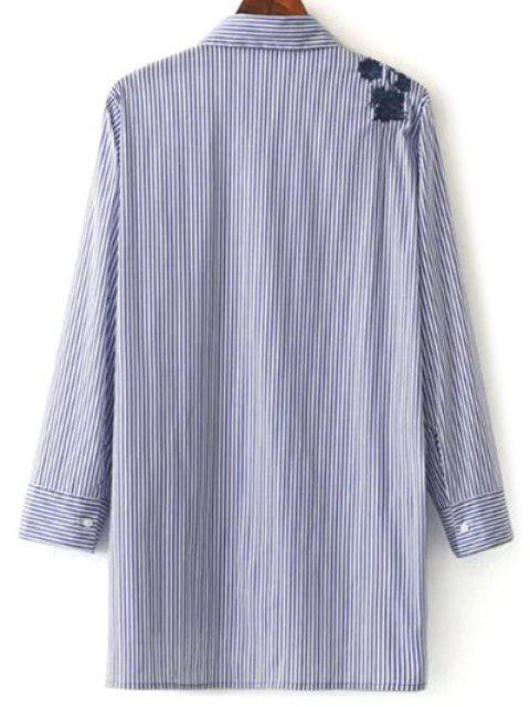 Shirt à rayures brodé Haut Bas - Bleu et Blanc S Mobile