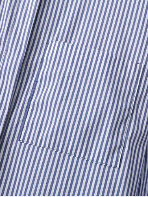 fashion High Low Striped Embroidered Shirt - BLUE AND WHITE S Mobile